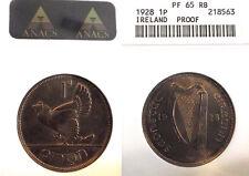 Ireland 1928 Penny, Rare Proof,  ANACS  Proof 65,  Mintage 6,001 pcs.
