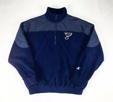 Vtg St Louis BLUES Logo Athletic Quarter Zip Fleece Jacket Sz Large 90's NHL