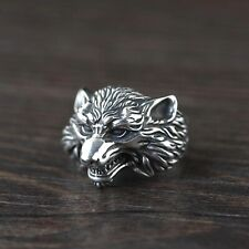 Solid 925 Sterling Silver Mens Wolf Ring Open Adjustable Size