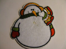 CHRISTMAS EMBROIDERED IRON ON SNOWMAN APPLIQUE 2857-J