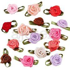 50pcs Satin Ribbon Rose Flower Gift Wedding Appliques Decor Multi-Color OBS
