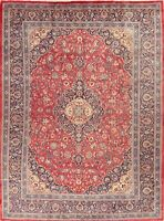 Vintage Traditional Floral Area Rug Wool Hand-Knotted Oriental Carpet 10x13 RED