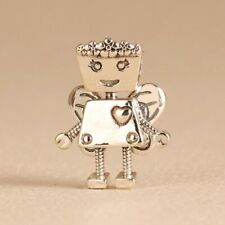 925 Sterling Silver Floral Bella Bot Robot Limited Charm Fully Moveable Parts