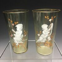 Pair Of Fine Antique Mary Gregory Glass Gold Gilded Cups