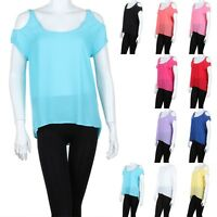 Womens Open Shoulder Short Sleeve High Low Hem Top Round Neck Relaxed Fit S M L