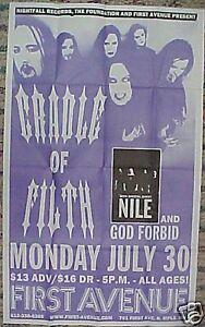 CRADLE OF FILTH 2001 Minneapolis,MN CONCERT TOUR POSTER First Avenue NILE Dani
