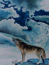 Rock Art WOLF/WOLVES s/n PRINT Wildlife Watercolor