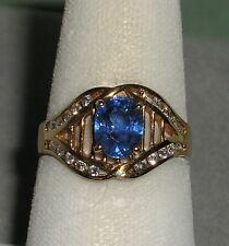 SOLID     14K  Gold   CEYLON   SAPPHIRE    Diamond   Fashion  Ring