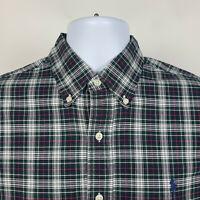 Ralph Lauren Blue Green Gray Red Check Plaid Mens Dress Button Shirt Size Medium
