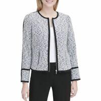 CALVIN KLEIN NEW Women's Contrast Piped Tweed Jacket Top TEDO