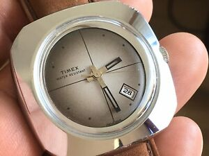 1976 Vintage Timex Marlin S Mechanic Men's Watch Date Serviced New Crown/ Strap