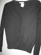 New Misses button front SWEATER medium black charcoal Ambiance Apparel cardigan