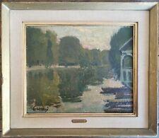 Edmond Heuzé (1884-1967) - Huile sur panneau - Bord de rivière - signé HSP