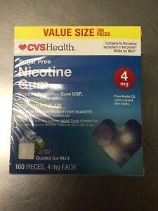 CVS  Sugar Free Nicotine  Gum 4 mg. Coated Ice MINT . 160 Pieces EXP  : 06/2020+