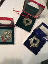 3 Reed Barton Silver Pewter Christmas Ornament 2387 Oakleaf 2384 Rose 2379 Wreat