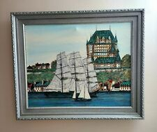 WATER COLOR PAINTING ORIGINAL SIGNED, FRAMED MARINE BAY  NAUTICAL 20X24