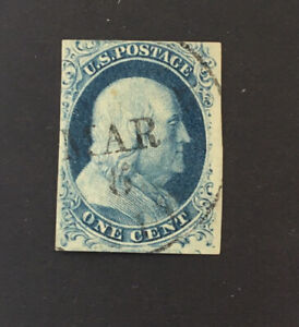US Sc#7 1c Franklin Type II 1851 Used, cv $135. Clear Picture.