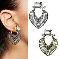PW_ CO_ Women Vintage Stainless Steel Dangle Bohemia Floral Flesh Tunnel Ear P