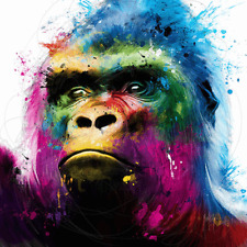 """Rainbow Gorilla wall art colorful printed on canvas 16"""" x  16'' solid frame"""