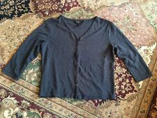 Express Size 7/8 Button Down V Neck 3/4 Sleeve Steel Gray/Blue Cardigan Shirt