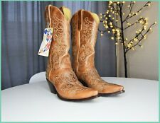 OLD GRINGO Mexico mid calf brown blue embroidery cowboy boots pointed 9B US 7 UK