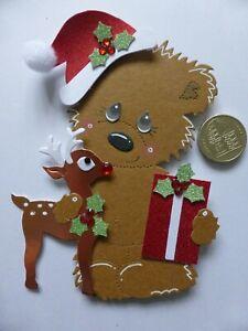 4 Large Reindeer & Gift  Bear 3D Handmade Card Toppers Nan Grandma Mum Dad Kids