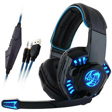 3.5MM GAMING HEADSET MIC LED HEADPHONES V3B FOR PC MAC LAPTOP PS4 SLIM XBOX ONE