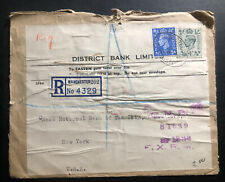 1949 Manchester England District Bank Economy Label Cover To New York Usa
