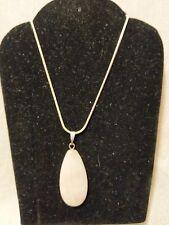 "Rose Quartz Gemstone Teardrop Pendant Necklace .925 Silver, 20"" Free Shipping!!!"