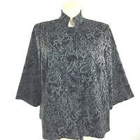 Coldwater Creek Plus 20 Jacket Black Gray Tapestry Paisley Pocket Button Swing