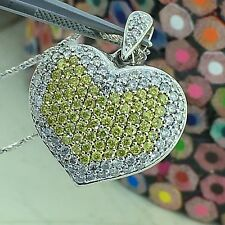 14k White Gold 2.5 Carat White & Canary Diamonds Ladies Puffed Heart Pendant