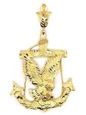 10k Yellow Gold Flying Eagle Maritime Anchor Charm Pendant 10.9 grams