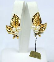 Vintage Crown Trifari Faux Pearl Gold Tone Clip On Earrings Flower Leaf Design
