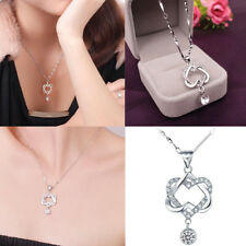 Fashion 925 Silver Plated Women Double Heart Pendant Necklace Chain Jewelry