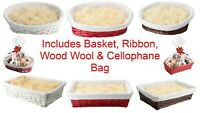 MAKE YOUR OWN HAMPER WICKER WINE FOOD BASKET BAG BOW XMAS GIFT SET KIT CHRISTMAS