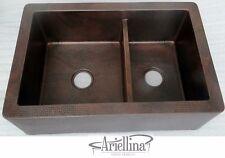 "36"" Ariellina Farmhouse 14 Gauge Copper Kitchen Sink Lifetime Warranty AC1923"