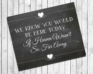 Wedding Decor MEMORIAL Print, Rustic Look If Heaven Wasn't So Far 8x10 CARDSTOCK