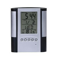 LCD Desk Pen Holder Pencil Container with Calendar Timer Alarm Clock Temperature
