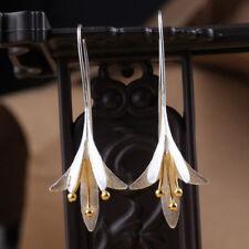 Vintage 925 Silver Plated Flower Earrings Drop Dangle Earrings Handmade Jewelry