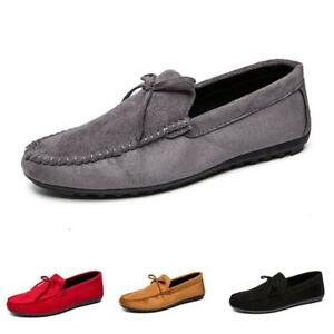 Mens Round toe Flats Slip on Loafers Driving Moccasin Gomminos Casual Shoes PLUS