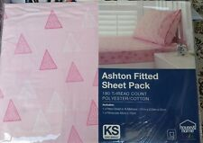"""KING SINGLE BED """" ASHTON """" 2 PCE FITTED SHEET SET. PINK & WHITE TRIANGLES PRINT"""