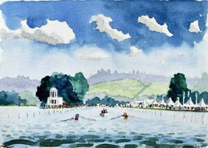 Henley Royal Regatta 8 River Thames Watercolour Artist Doug Myers A5 PRINT 1416