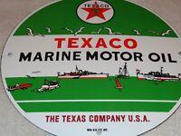 """VINTAGE TEXACO MARINE MOTOR OIL 11 3/4"""" PORCELAIN METAL GASOLINE SIGN FISH+ BOAT"""