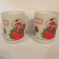 Strawberry Shortcake Two Mugs Anchor Hocking White Milk Glass