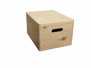 Unpainted Wooden Chest Trunk Storage Unit Unfinished Souvenir Keepsake with Lid