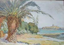 Peinture Aquarelle sur papier, Antibes, daté 35, signature à identifier