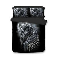 3D Steel Unicorn Skull Duvet Cover Bedding Set Pillowcase Comforter/Quilt Cover