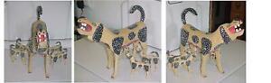 ALEBRIJE OAXACAN CARVED WOOD LARGE DOG 4 PUPPIES 10 TEATS DALMATIAN RARE NICE+++