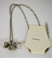 HORSE NECKLACE, SILVER METAL CHAIN, LOCKET OPENS, BEAD  GLOWS LIGHT GREEN, NEW