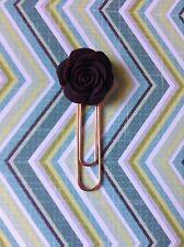 Brown Floral Planner Clip - Rose,Rose Gold
